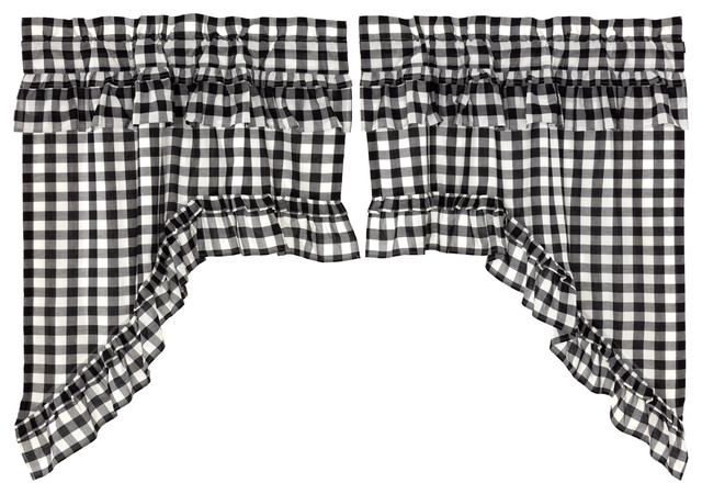 Farmhouse Kitchen Curtains Jenna Buffalo Check Swag Rod Pocket Cotton, Set Of 2 With Regard To Check Scalloped Swag Sets (View 16 of 25)