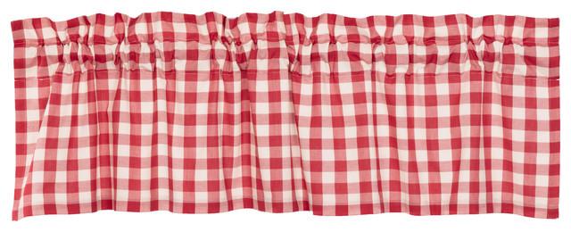 Farmhouse Kitchen Curtains Jenna Buffalo Check Valance Rod Pocket Cotton In Serene Rod Pocket Kitchen Tier Sets (View 24 of 25)