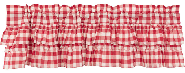 Farmhouse Kitchen Curtains Jenna Buffalo Check Valance Rod Pocket Cotton Pertaining To Cumberland Tier Pair Rod Pocket Cotton Buffalo Check Kitchen Curtains (View 11 of 25)
