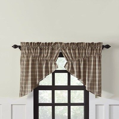 Farmhouse Kitchen Curtains Miller Farm Plaid Prairie Swag Pair Rod Pocket | Ebay Inside Cumberland Tier Pair Rod Pocket Cotton Buffalo Check Kitchen Curtains (View 6 of 25)