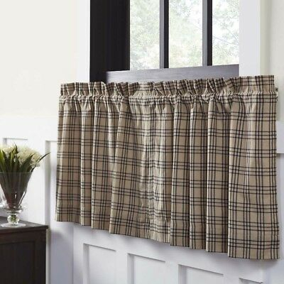 Featured Image of Cumberland Tier Pair Rod Pocket Cotton Buffalo Check Kitchen Curtains