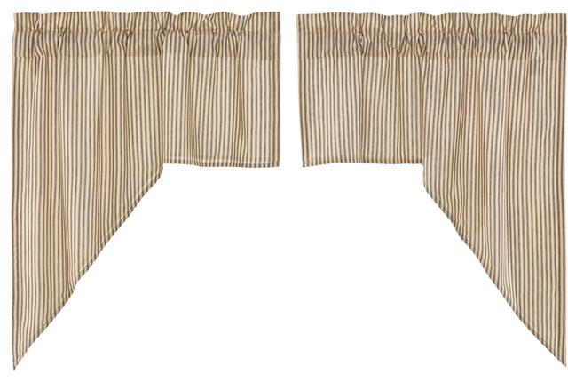 Farmhouse Kitchen Curtains Miller Farm Ticking Stripe Swag Rod Pocket, Set  Of 2 Throughout Farmhouse Stripe Kitchen Tier Pairs (Image 10 of 25)