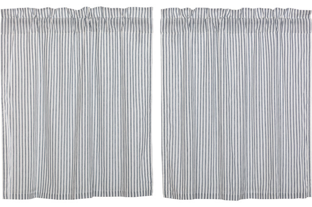 Farmhouse Kitchen Curtains Miller Farm Ticking Stripe Tier Rod Pocket, Set Of 2 In Rod Pocket Kitchen Tiers (View 10 of 25)