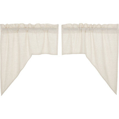 Farmhouse Kitchen Curtains Simplicity Flax Swag Pair Rod Throughout Rod Pocket Cotton Linen Blend Solid Color Flax Kitchen Curtains (View 10 of 25)