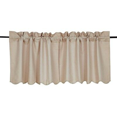 Farmhouse Kitchen Curtains Vhc Charlotte Tier Pair Rod Pocket Solid Color | Ebay In Rod Pocket Cotton Linen Blend Solid Color Flax Kitchen Curtains (View 14 of 25)