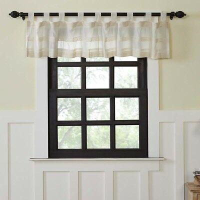 Farmhouse Kitchen Curtains Vhc Quinn Valance Tab Top Cotton Throughout Farmhouse Kitchen Curtains (View 13 of 25)