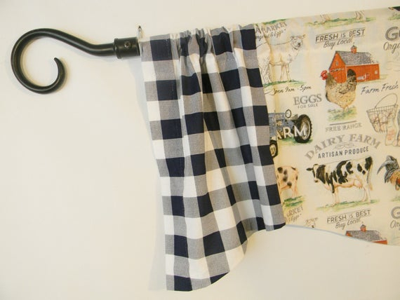 Farmhouse Kitchen Valance, Rooster, Cow, Barn, Tractor, Navy Blue, Buffalo Check, Window Topper, Window Treatment, Custom Curtain Pertaining To Barnyard Buffalo Check Rooster Window Valances (View 4 of 26)
