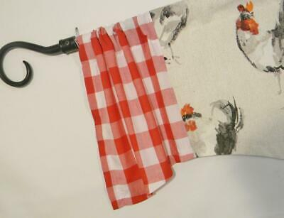 Farmhouse Kitchen Valance~Barn~Tractor~Rooster~Navy~ Check In Barnyard Buffalo Check Rooster Window Valances (Image 17 of 25)