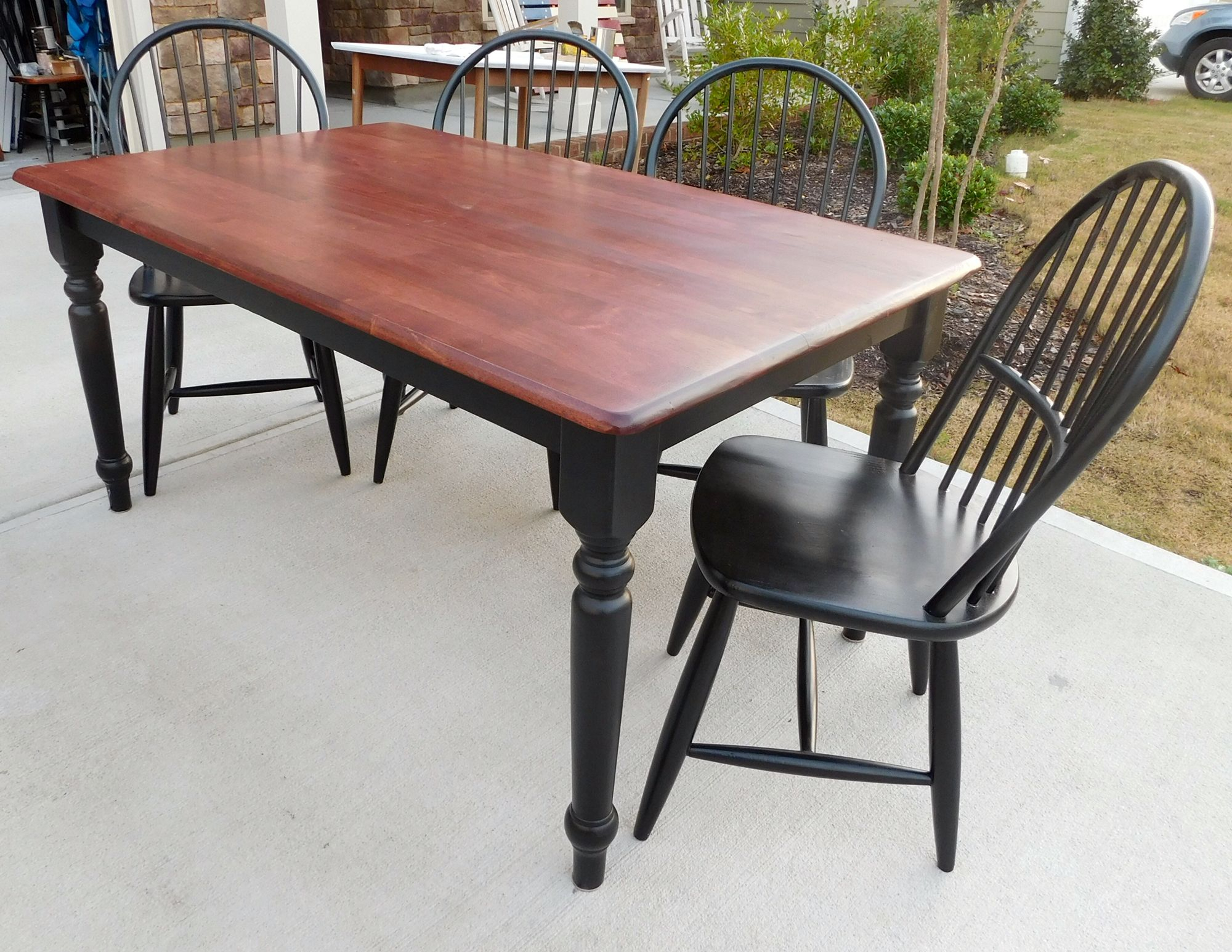 Farmhouse Table & Chairs Red Mahogany Stain, Flat Poly Within Most Popular Rustic Mahogany Benchwright Dining Tables (View 17 of 25)
