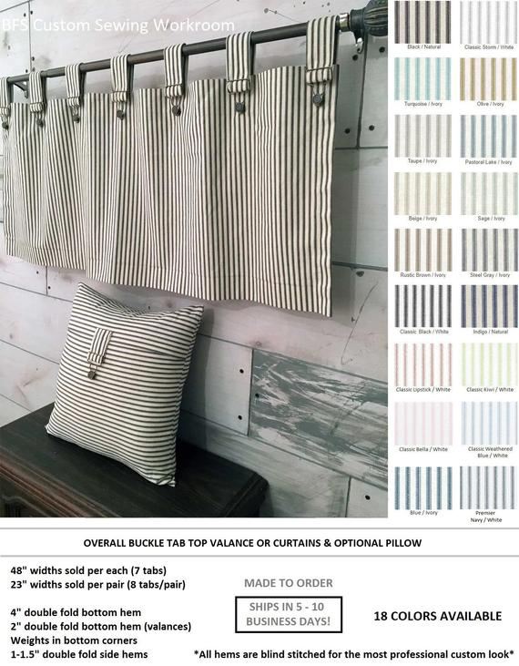 Farmhouse Ticking Stripe Cafe Curtains/drapes/valance/pillow  Overall  Buckle Tab Top  18 Colors Custom Curtains  Ships In 5 10 Biz Days Within Farmhouse Stripe Kitchen Tier Pairs (Image 16 of 25)