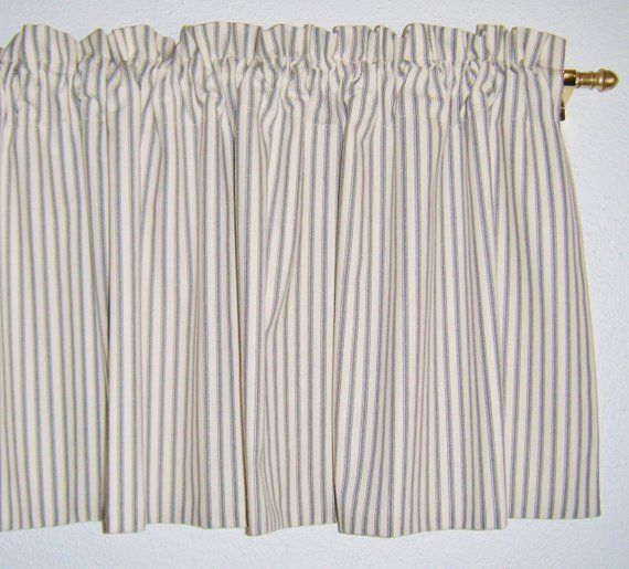 Farmhouse Ticking Stripe Valance, Gray, Black, Blue, Grey Intended For Linen Stripe Rod Pocket Sheer Kitchen Tier Sets (View 5 of 25)