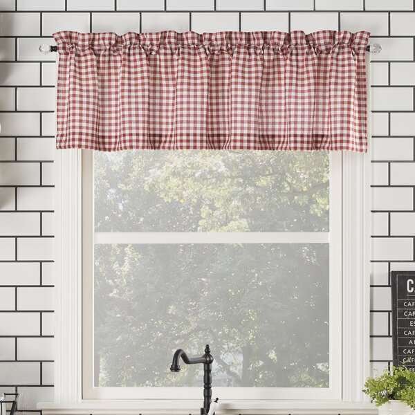 Farmhouse Valance Curtains | Wayfair With Regard To Class Blue Cotton Blend Macrame Trimmed Decorative Window Curtains (View 5 of 25)