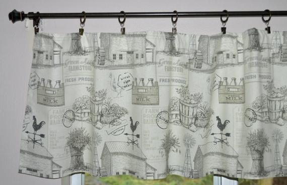 Farmhouse Valance . Farm Toile Rooster Valance . Charcoal Gray And White Valance . Country Valance . Cottage Curtains (View 24 of 26)