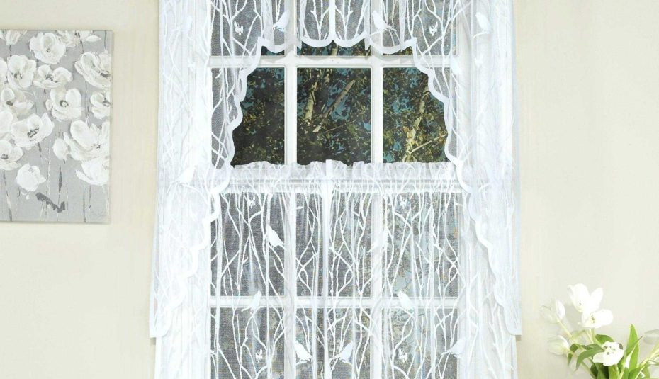 Fascinating Window Valance White Knit Lace Bird Motif Throughout Pleated Curtain Tiers (View 19 of 25)