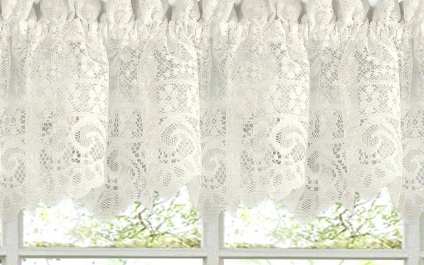 Fascinating Window Valance White Knit Lace Bird Motif Throughout White Knit Lace Bird Motif Window Curtain Tiers (View 4 of 25)