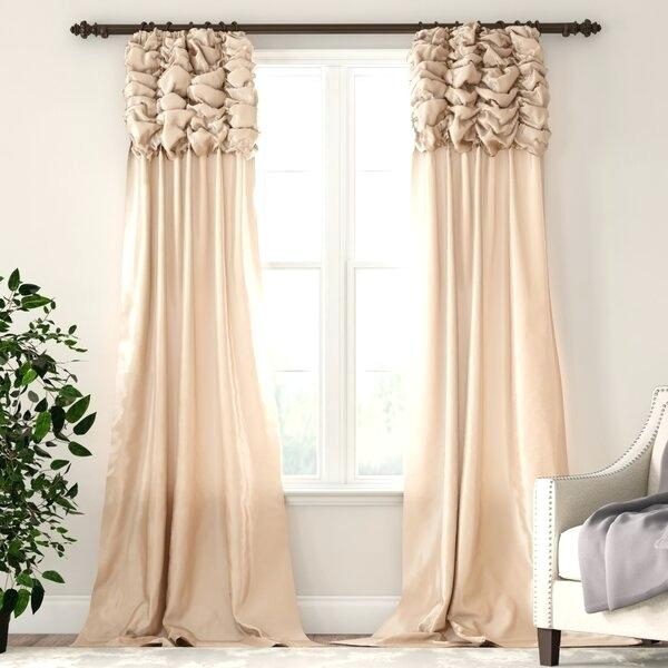 Faux Silk Curtains – Wayo Within Rod Pocket Cotton Solid Color Ruched Ruffle Kitchen Curtains (View 16 of 25)