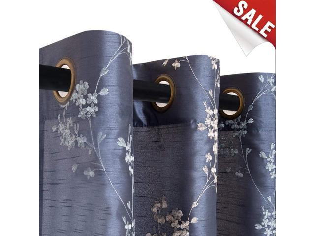 Faux Silk Floral Embroidered Curtains For Bedroom Embroidery Curtain For Living Room 63 Inches Long Drapes, 2 Panels, Slate Blue – Newegg In Floral Embroidered Faux Silk Kitchen Tiers (View 5 of 25)