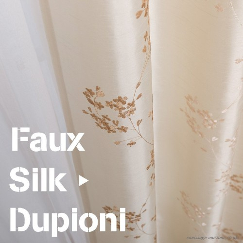 "Faux Silk Floral Embroidered Sheer Curtains For Bedroom Embroidery Curtain For Living Room 84 Inch Length 2 Panels Ivory 84""l 