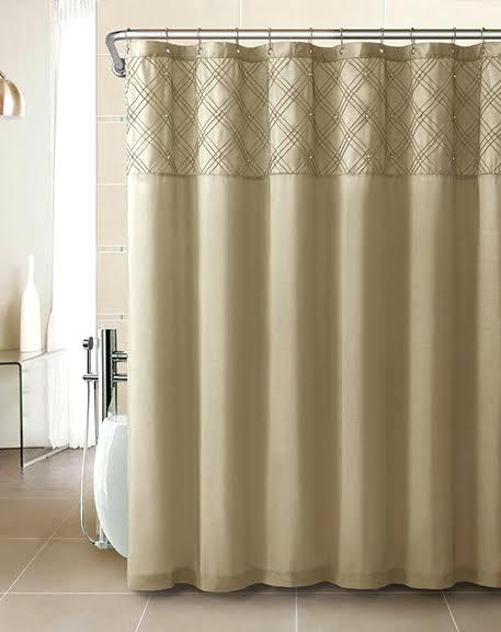 Faux Silk Shower Curtain With Pearl Design Matching Pintuck With Regard To Hudson Pintuck Window Curtain Valances (Image 8 of 25)