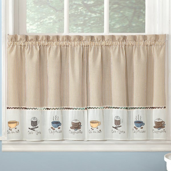 Favorite Coffee Drinks Embroidered Window Treatments Valance And Tiers Inside Coffee Drinks Embroidered Window Valances And Tiers (View 2 of 25)