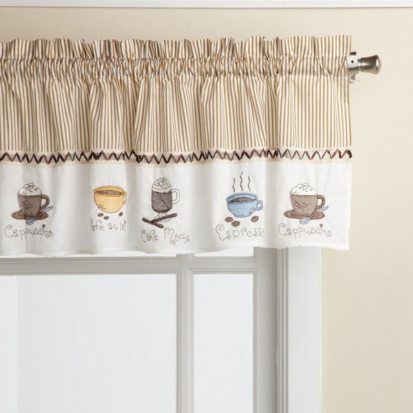 Favorite Coffee Drinks Embroidered Window Treatments Valance And Tiers Within Coffee Drinks Embroidered Window Valances And Tiers (View 3 of 25)
