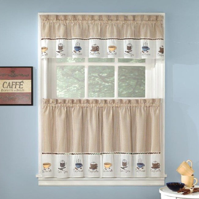 Featured Image of Coffee Drinks Embroidered Window Valances And Tiers
