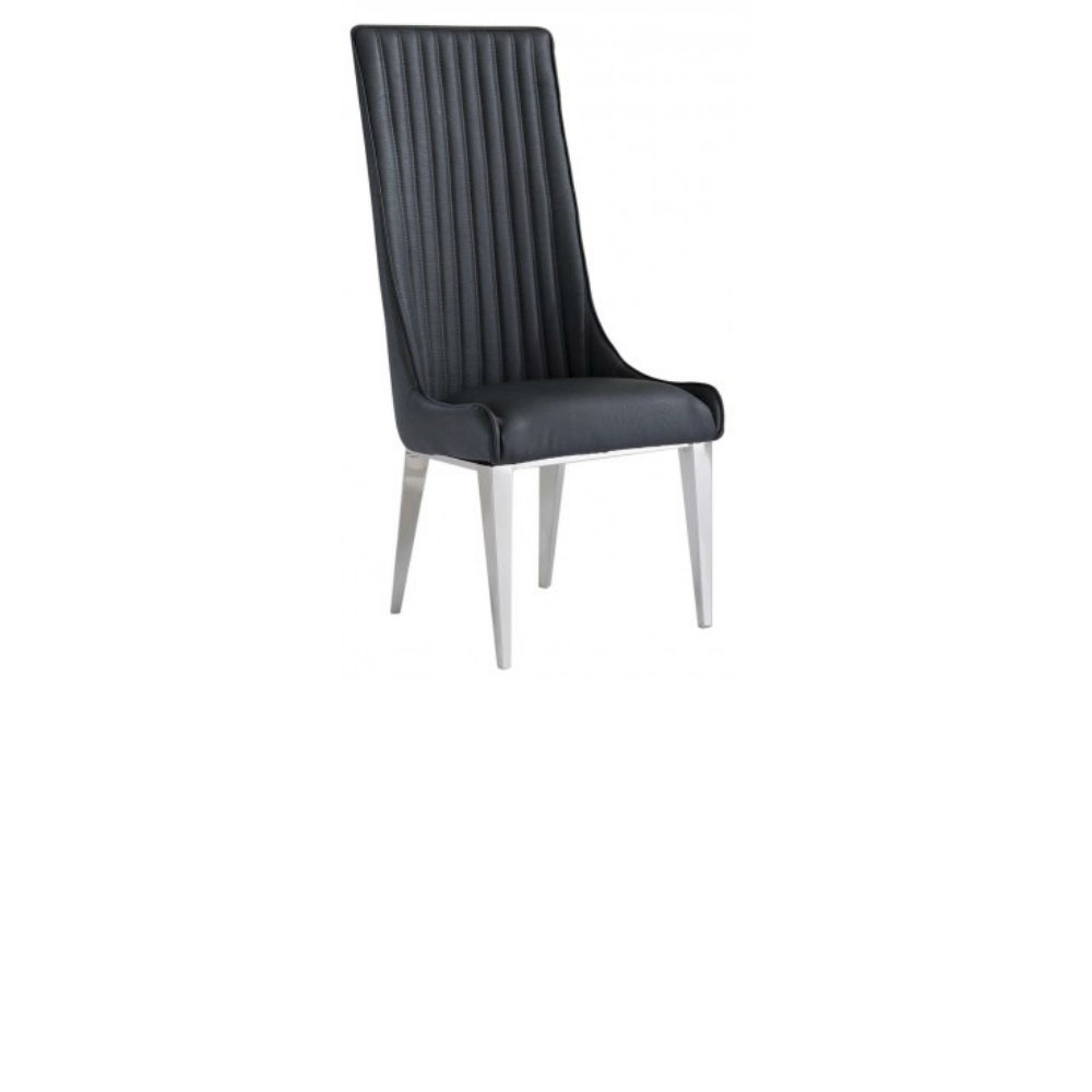 Faye High Back Grey Faux Leather Pair Of Dining Chair With Chrome Legs Throughout 2017 Faye Extending Dining Tables (View 18 of 25)
