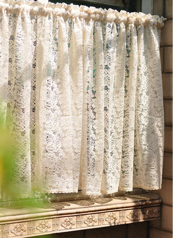 Fine Arts: Shabby Chic French Provincial Vintage Draw Work Within Rod Pocket Cotton Striped Lace Cotton Burlap Kitchen Curtains (View 16 of 25)