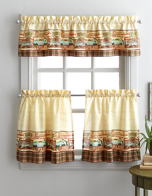 Fishing Lodge 36L Tier And Valance Kitchen Curtain Set Lake Fisherman Cabin | Ebay With Regard To Lodge Plaid 3 Piece Kitchen Curtain Tier And Valance Sets (View 2 of 25)