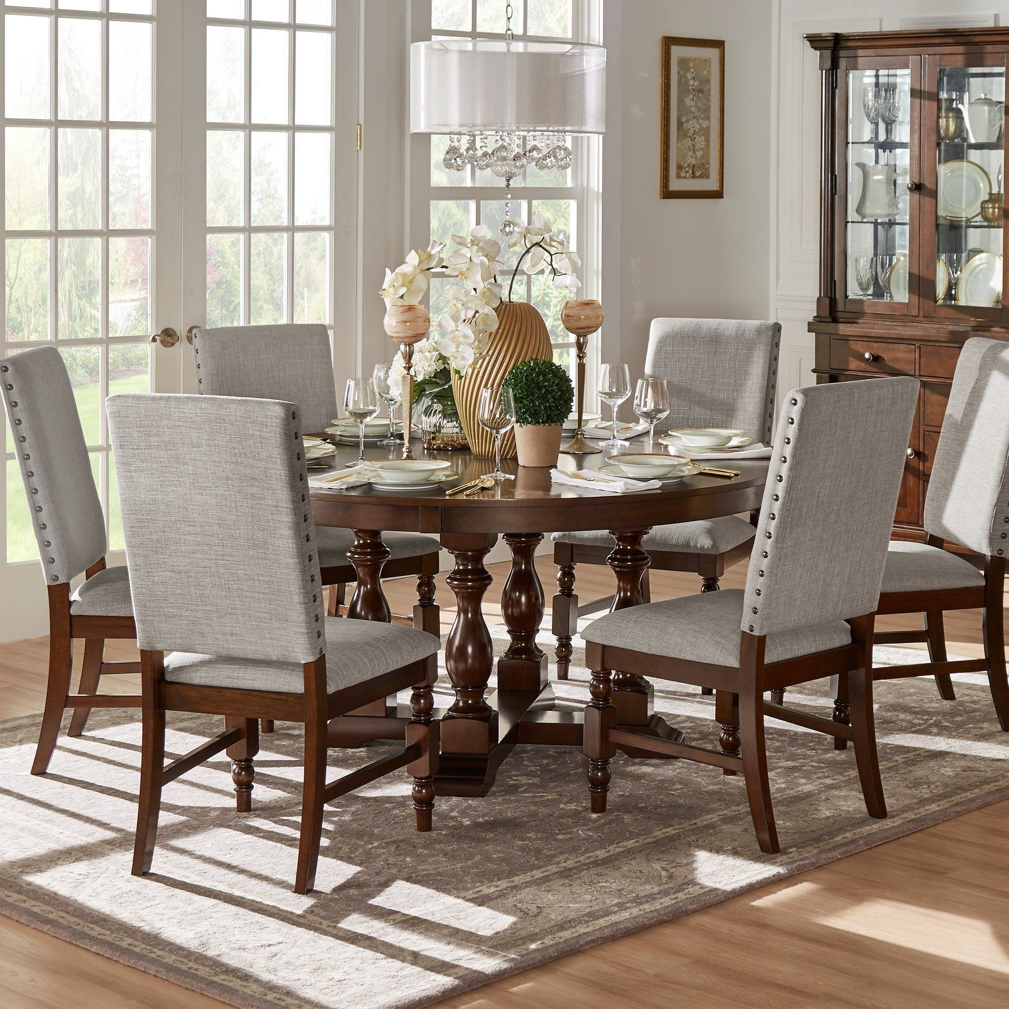 Flatiron Burnished Oak Finish Dining Setinspire Q Intended For Most Recently Released Hewn Oak Lorraine Pedestal Extending Dining Tables (View 9 of 25)
