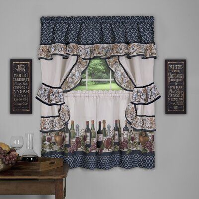 Fleur De Lis Living Hardie 5 Piece Kitchen Curtain Set Size Pertaining To Top Of The Morning Printed Tailored Cottage Curtain Tier Sets (View 5 of 25)
