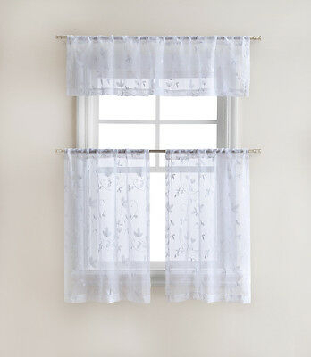 Floral Embroidered Sheer Kitchen Curtain Tier & Valance Set With Regard To Floral Embroidered Sheer Kitchen Curtain Tiers, Swags And Valances (View 6 of 25)
