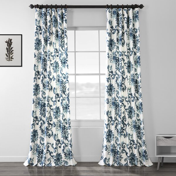 Floral Print Curtains   Wayfair For Floral Blossom Ink Painting Thermal Room Darkening Kitchen Tier Pairs (View 4 of 25)