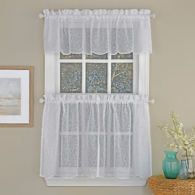 Floral Spray Semi Sheer Kitchen Window Curtain Tier Pair Or Valance White |  Ebay Intended For Semi Sheer Rod Pocket Kitchen Curtain Valance And Tiers Sets (Image 12 of 25)