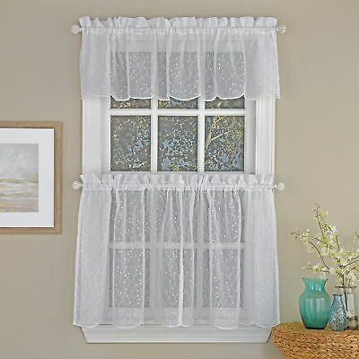 Floral Spray Semi Sheer Kitchen Window Curtain Tier Pair Or Within Floral Embroidered Sheer Kitchen Curtain Tiers, Swags And Valances (View 11 of 25)