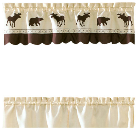 Forest Moose Kitchen Curtain, Valance For Forest Valance And Tier Pair Curtains (View 3 of 25)