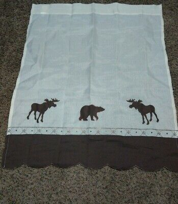 """Forest Tier Pair Curtains, Ivory And Brown. Measures 35""""x29"""" Each Panel (View 4 of 25)"""