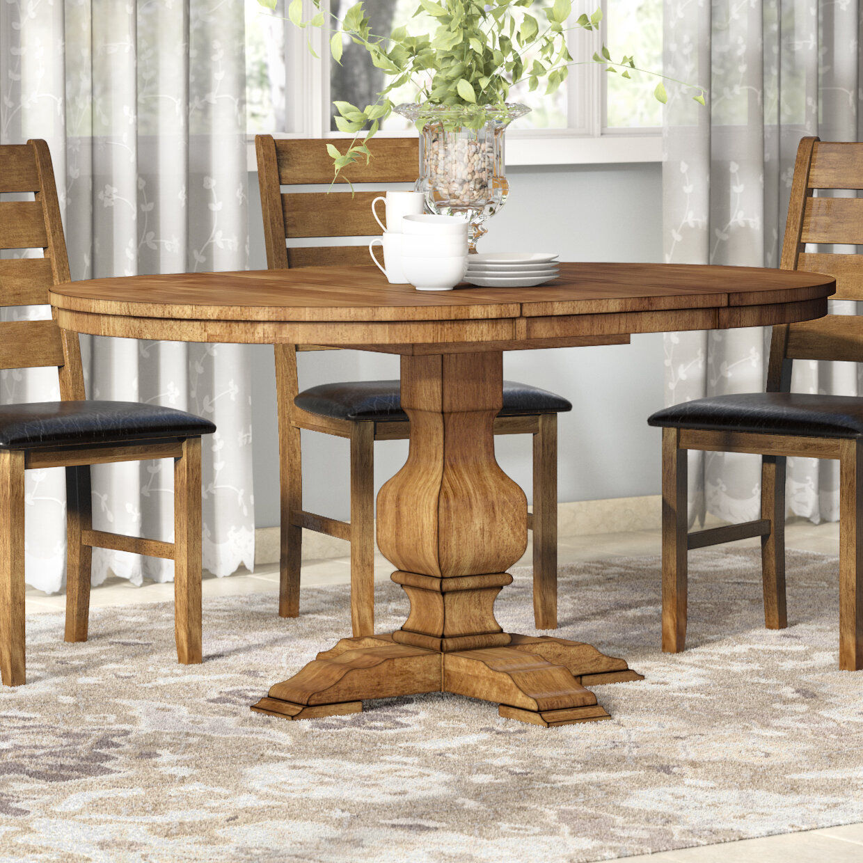 Fortville Extendable Solid Wood Dining Table Within Current Rustic Brown Lorraine Pedestal Extending Dining Tables (View 23 of 25)