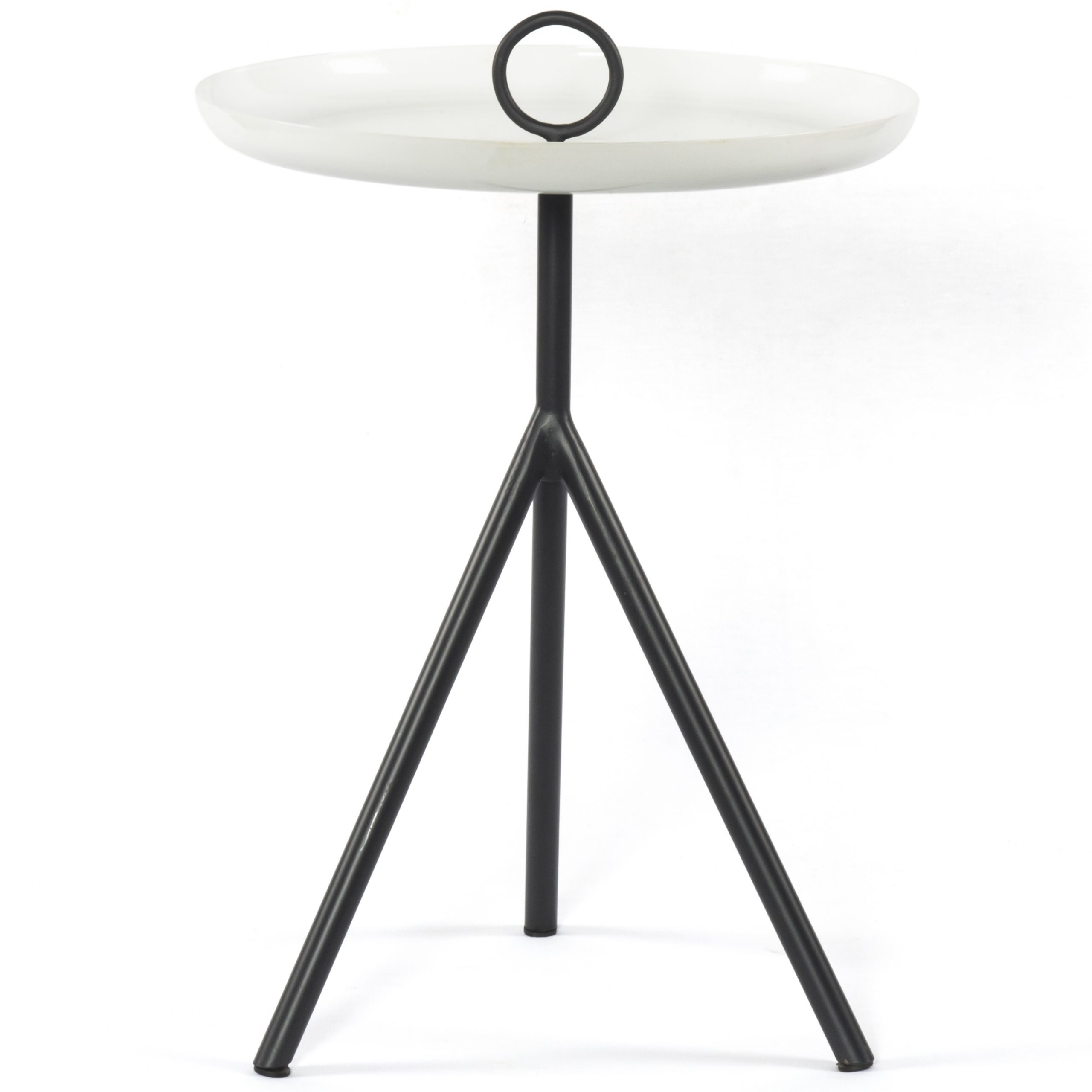 Four Hands Nolan Charcoal / Satin White 15'' Wide Round Pedestal Table Throughout Most Recent Nolan Round Pedestal Dining Tables (View 17 of 25)
