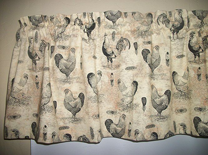 French Country Rooster Chicken Farm Kitchen Tan Fabric With Barnyard Buffalo Check Rooster Window Valances (Image 19 of 25)