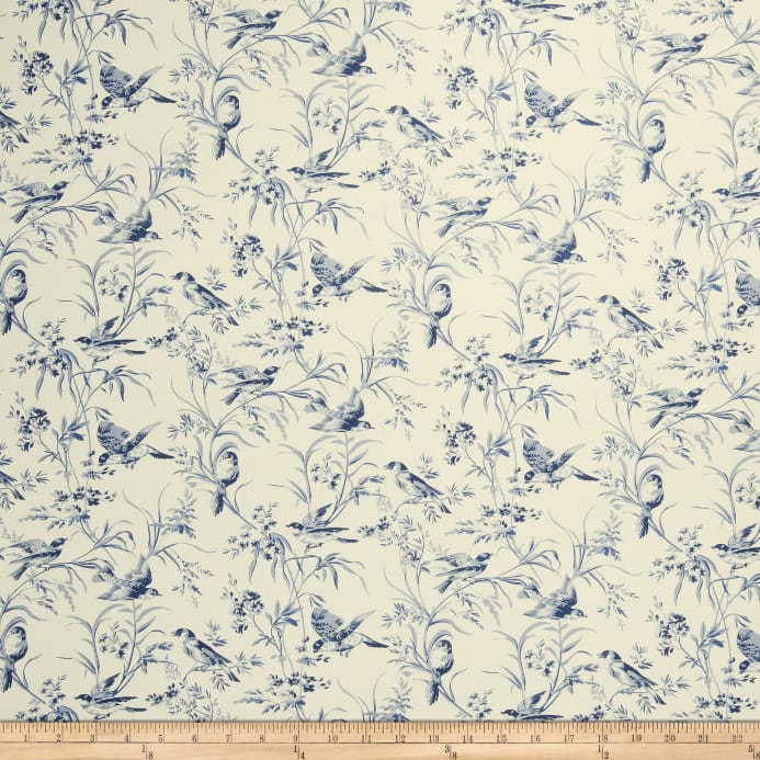 French General Aviary Toile Linen Indigo Fabric Within Aviary Window Curtains (View 21 of 25)