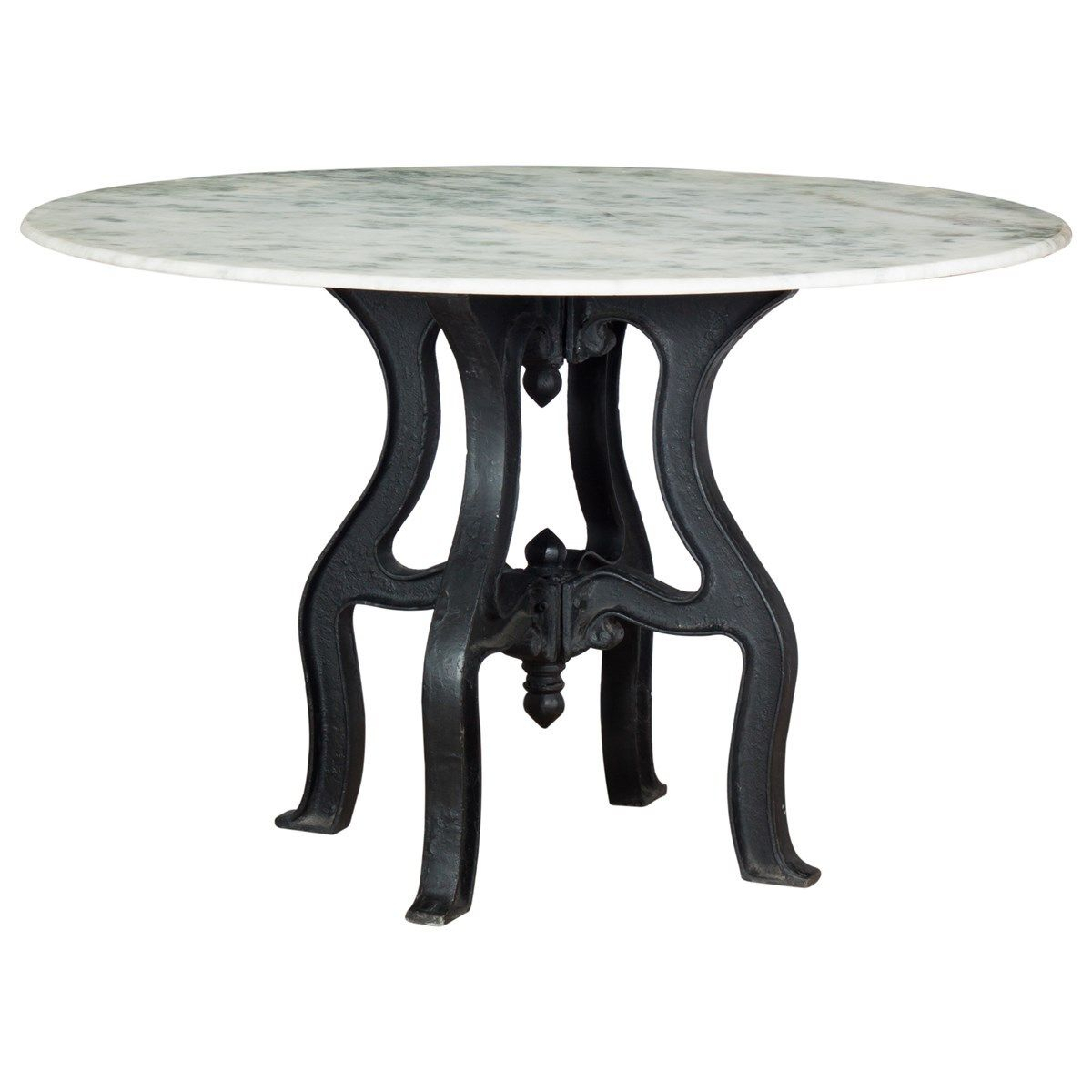 French Industrial White Marble Top Round Dining Table With 2017 Christie Round Marble Dining Tables (View 4 of 25)