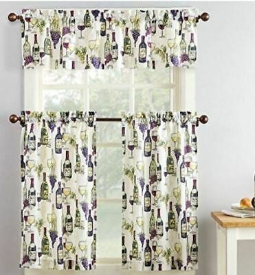 French Wine Bottle Chateau Grapes Kitchen Window Valance Regarding Chateau Wines Cottage Kitchen Curtain Tier And Valance Sets (View 18 of 25)