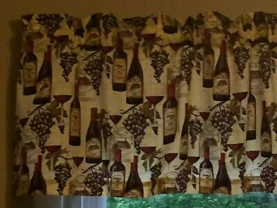 French Wine Bottle Chateau Grapes Kitchen Window Valance Within Chateau Wines Cottage Kitchen Curtain Tier And Valance Sets (View 8 of 25)