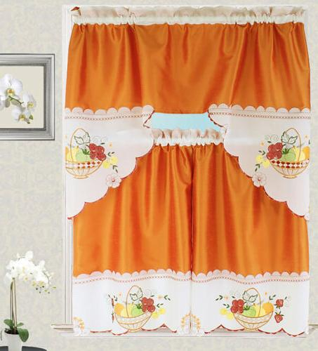 Fruit Basket Kitchen Curtain With Swag A Within Chocolate 5 Piece Curtain Tier And Swag Sets (View 25 of 25)