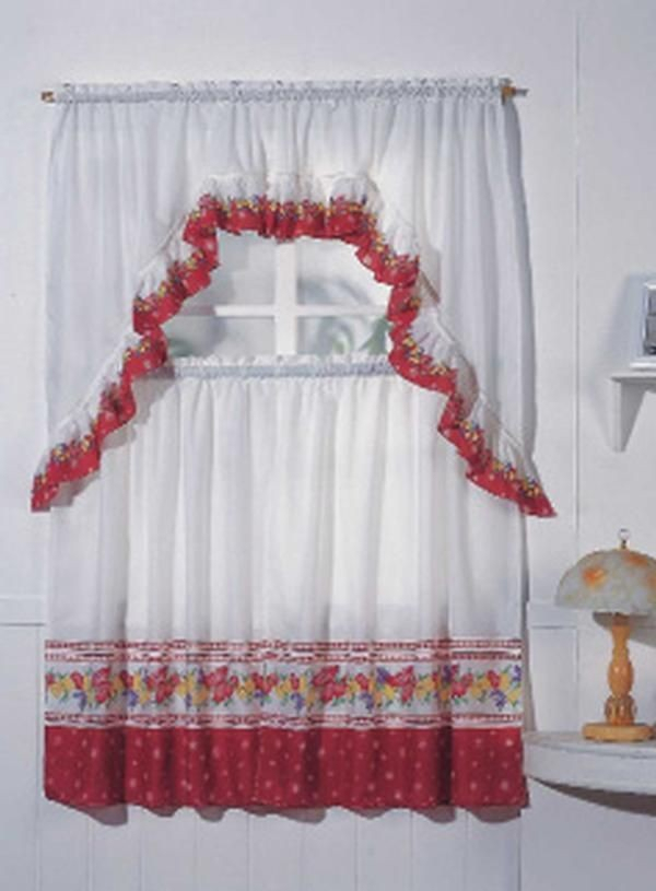 Fruit, Complete Tier & Swag Set, Kitchen Curtain Set In Chardonnay Tier And Swag Kitchen Curtain Sets (View 22 of 25)