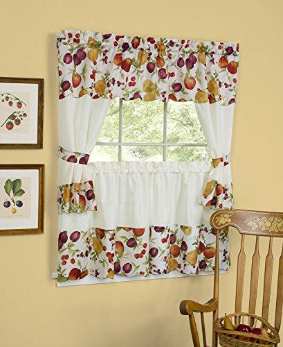 Fruit Explosion Kitchen Curtain Cottage Set (58 Inch X 36 For 5 Piece Burgundy Embroidered Cabernet Kitchen Curtain Sets (View 11 of 25)