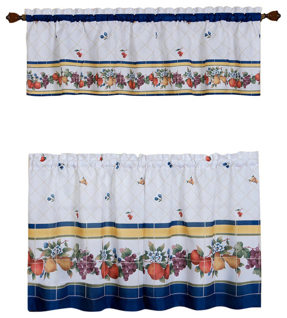 """Fruity Tiles Tier And Valance Window Curtain Set, 58""""x36"""", Multi In Multicolored Printed Curtain Tier And Swag Sets (View 16 of 25)"""