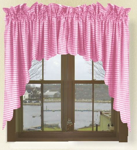Fuchsia Hot Pink Gingham Check Scalloped Window Swag Valance Intended For Check Scalloped Swag Sets (View 6 of 25)