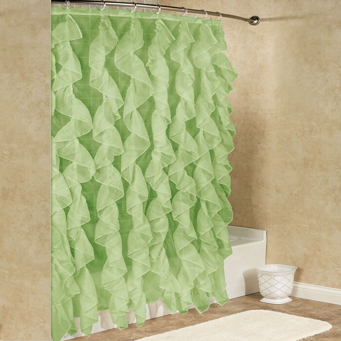 Fuhrman Chic Sheer Voile Vertical Waterfall Ruffled Single Hooks Shower Curtain Within Maize Vertical Ruffled Waterfall Valance And Curtain Tiers (View 7 of 25)